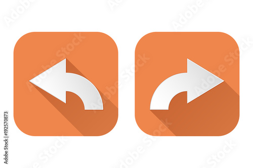 Right and left arrows. Square orange signs