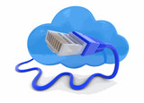 Cloud and computer cables. Image with clipping path. - 192572459