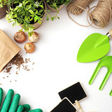planting tools on white background - 192572601