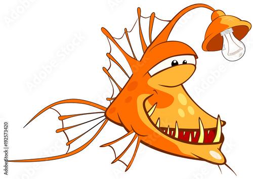 Fotobehang Babykamer Illustration of a Monk fish. Deep-water fish. Cartoon Character