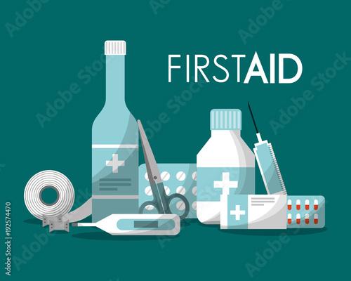 first aid kit syringe capsule pills band thermometer scissor bottle health vector illustration