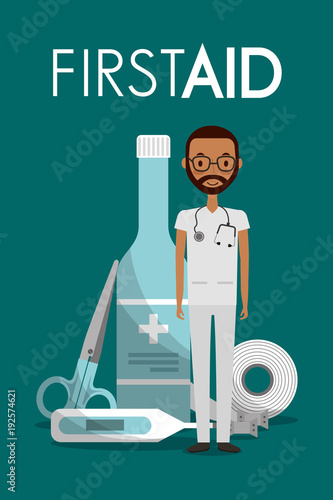 afroamerican man doctor sthetoscope first aid alcohol bottle thermometer scissors band vector illustration