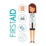 doctor in uniform standing in medical gown with first aid medicine vector illustration - 192574811