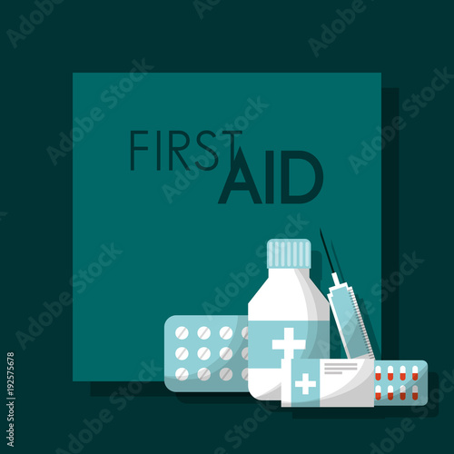 first aid kit pills bottle capsule syringe medical health vector illustration