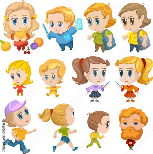 Anime kids, little children characters - 192576680