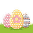 decorate floral easter eggs on field vector illustration - 192577260