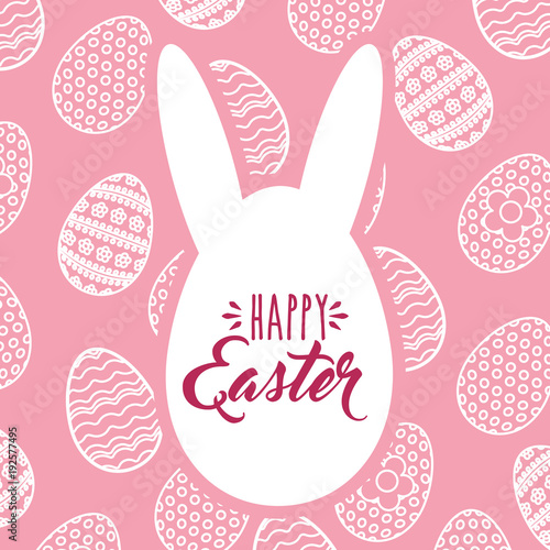 silhouette ears egg happy easter decoration celebration vector illustration - 192577495