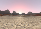 3D Rendering Desert Sunrise Landscape - 192579096
