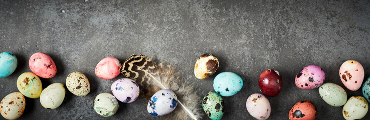 Easter background with dyed handcrafted eggs