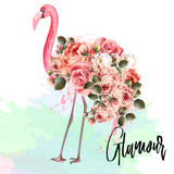 Beautiful fashion vector illustration with pink flamingo and roses. Glamour - 192580447