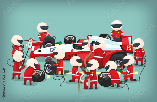 Poster with pit stop workers staying near the racing car, changing tires, refueling and changing oil in the bolide. Vector illustration