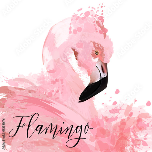 Beautiful illustration with pink flaming painted by vector ink spots