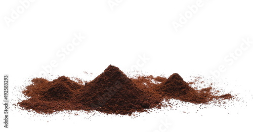 Plexiglas Koffiebonen Instant coffee, pile of powdered isolated on white background