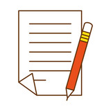 document paper with pencil vector illustration design - 192585429