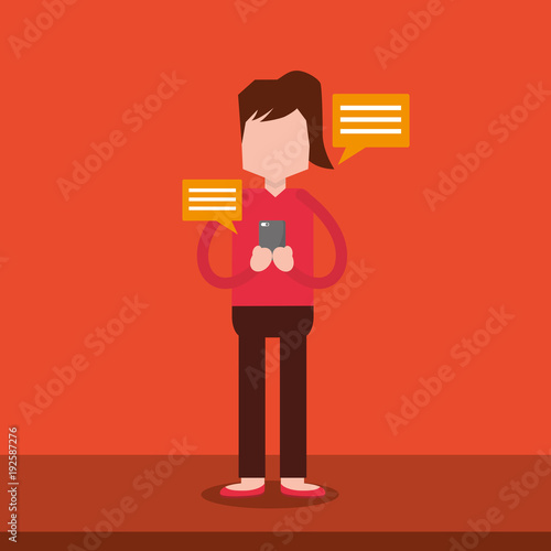 woman sends the instant messages by smartphone stands near text bubbles vector illustration