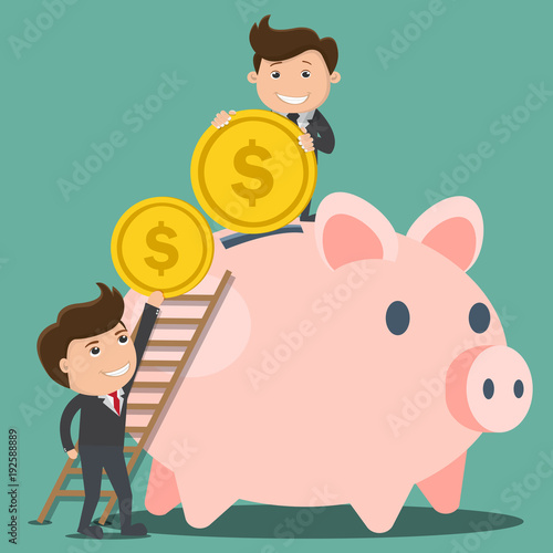 Businessman putting a coin into a piggy bank. Saving ang investing money concept. Vector illustration