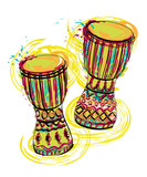 Fototapety Drums tam tam with splashes in watercolor style. Colorful hand drawn vector illustration