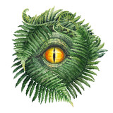 Watercolor Dinosaur Eye And Ferns Wall Sticker