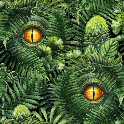 Fototapeta Watercolor dinosaur eye and prehistoric plants