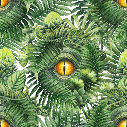 Fototapeta Watercolor dinosaur eye and prehistoric plants