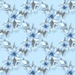 Floral seamless pattern 4. Watercolor background with blue flowers - 192593480