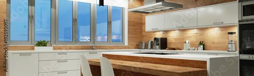 Moderne Küche nachts mit Beleuchtung - 192595097