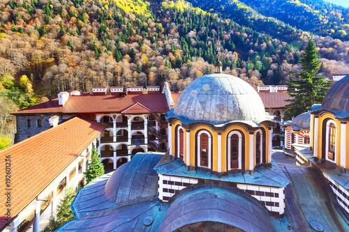 Foto Murales Bulgaria Rila monastery view with autumn mountain trees at background