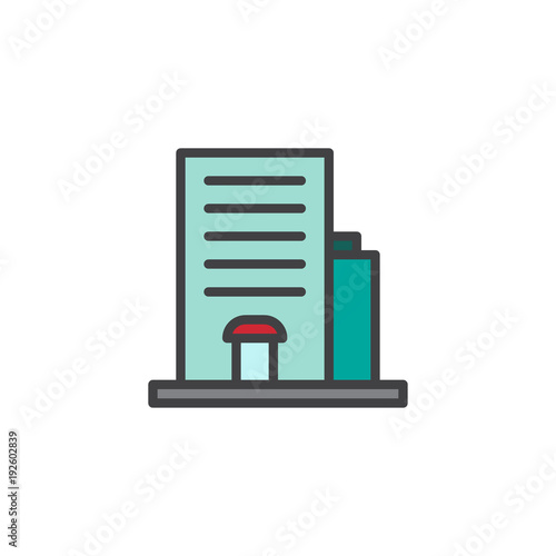 Hotel building filled outline icon, line vector sign, linear colorful pictogram isolated on white. Apartment symbol, logo illustration. Pixel perfect vector graphics