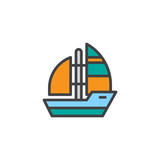 Yacht boat filled outline icon, line vector sign, linear colorful pictogram isolated on white. Sea cruise symbol, logo illustration. Pixel perfect vector graphics - 192604035