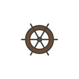 Ship steering wheel filled outline icon, line vector sign, linear colorful pictogram isolated on white. Ship helm symbol, logo illustration. Pixel perfect vector graphics - 192604257