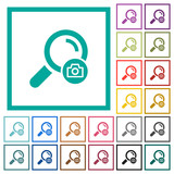 Search photo flat color icons with quadrant frames