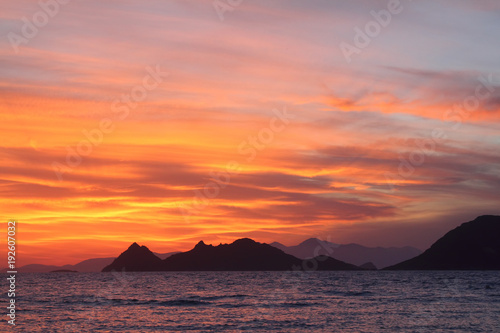Plexiglas Oranje eclat Seaside town of Turgutreis and spectacular sunsets