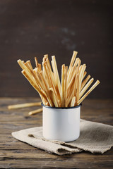 Traditional italian bread sticks Grissini