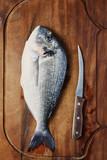 Healthy fresh raw fish on the wooden board - 192608063