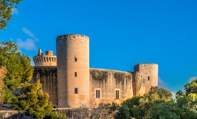 Gothic ruins of the Bellver Caste, Palma, Majorca (Mallorca), Balearic Islands, Spain.