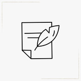 feather with paper line icon - 192612637
