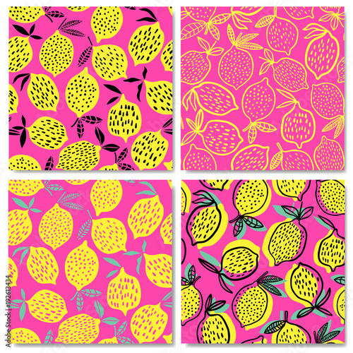 Lemon seamless pattern vector illustration. Summer design - 192613434