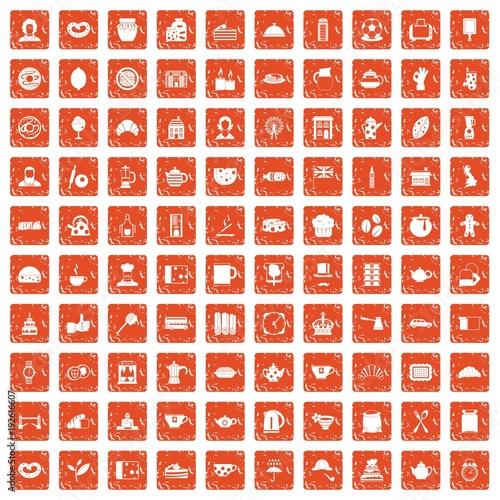 100 tea time food icons set grunge orange