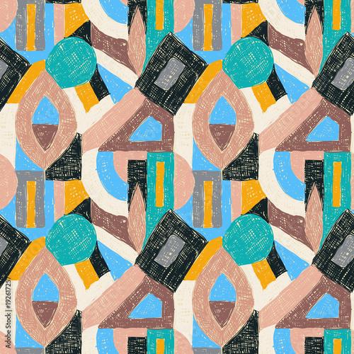 Papiers peints Pop Art Geometric pop art retro pattern doodle ornament white beige