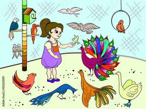 Aluminium Zoo Childrens cartoon color the contact birds zoo. Bird picture book. Ornithology for the girl