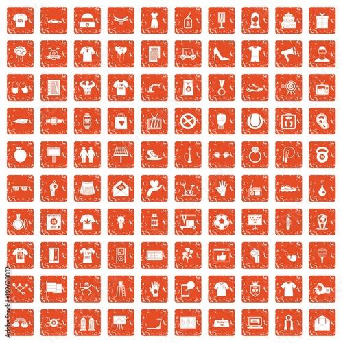 100 t-shirt icons set grunge orange