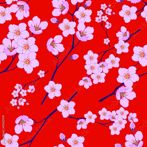 Cotton fabric Seamless pattern from a blooming cherry on a red background
