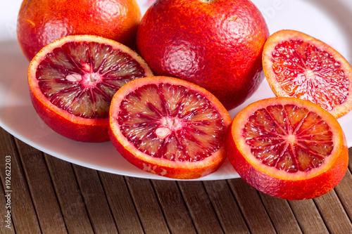 Sicilian oranges in a white plate