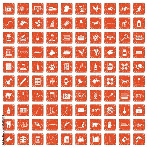100 veterinary icons set grunge orange