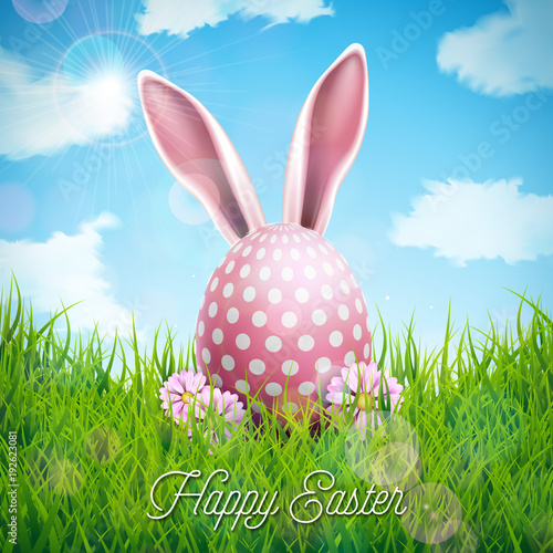 Vector Illustration of Happy Easter Holiday with Rabbit Ears, Painted Egg and Flower on Nature Grass Background. International Celebration Design with Typography for Greeting Card, Party Invitation or - 192623081