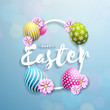 Vector Illustration of Happy Easter Holiday with Painted Egg and Flower on Clean Background. International Celebration Design with Typography for Greeting Card, Party Invitation or Promo Banner. - 192623225