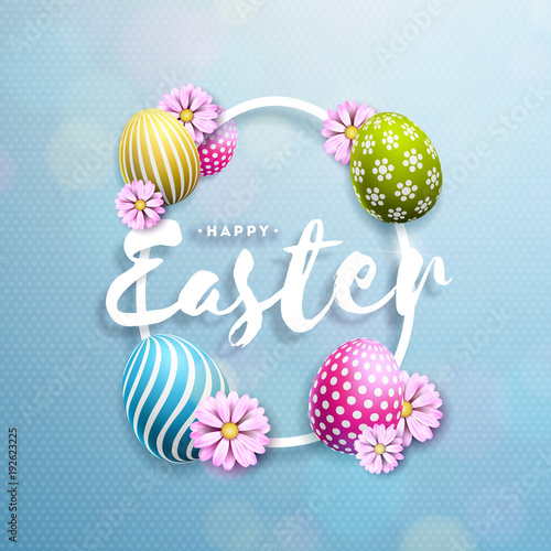 Sticker Vector Illustration of Happy Easter Holiday with Painted Egg and Flower on Clean Background. International Celebration Design with Typography for Greeting Card, Party Invitation or Promo Banner.