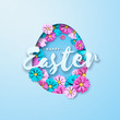 Vector Illustration of Happy Easter Holiday with Painted Egg and Flower on Clean Background. International Celebration Design with Typography for Greeting Card, Party Invitation or Promo Banner.