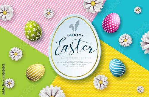Vector Illustration of Happy Easter Holiday with Painted Egg and Flower on Abstract Background. International Celebration Design with Typography for Greeting Card, Party Invitation or Promo Banner. - 192624245