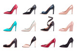 Collection of women's high-heeled shoes. A collection of women's high-heeled shoes. A group of diverse female shoes on a white background. - 192626427